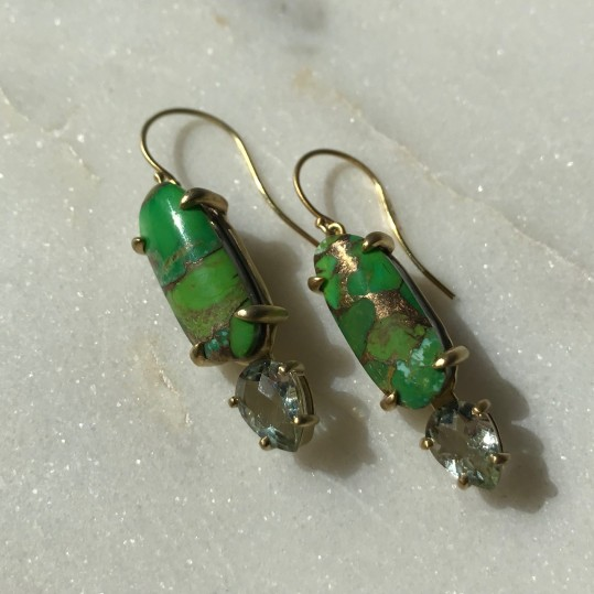 green mojave turquoise earrings