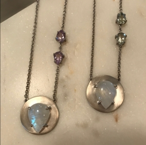 moonstone disc necklaces