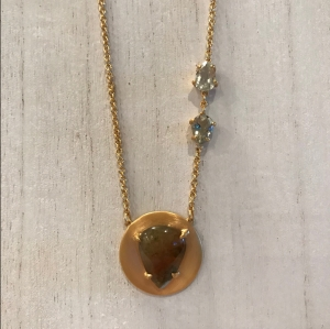 moss agate disc necklace